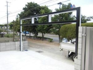 福岡県北九州市 電動 ステンレスグリルシャッター 施工前