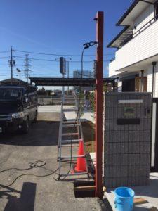 愛知県日進市 電動ステンレスグリルシャッター オリジナルゲート 鉄骨下地 1